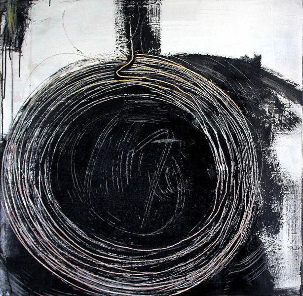 Einzelstück, Acrylmalerei, Schwarz weiß, Kreis, Gemälde, Schwarzweiß