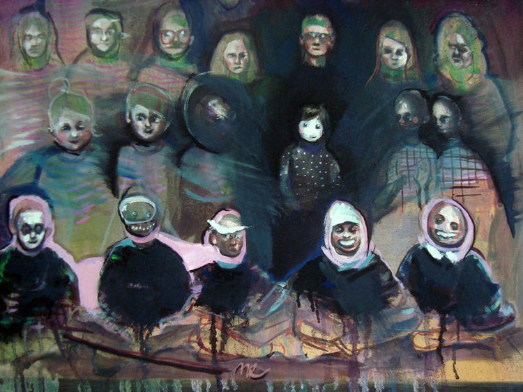 Gruppe, Kinder, Menschen, Malerei