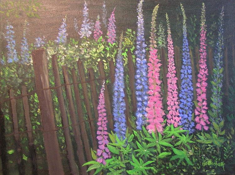Sommer, Blumen, Zaun, Lupinen, Malerei, Garten