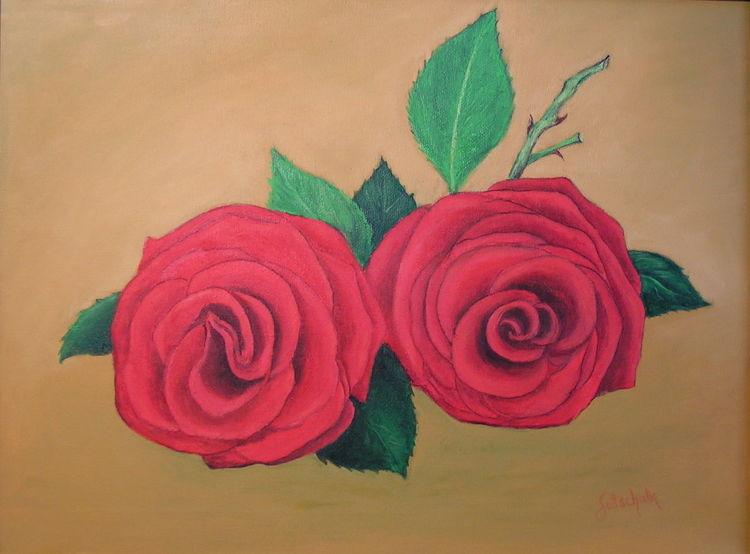 Rose, Ölmalerei, Rot, Malerei