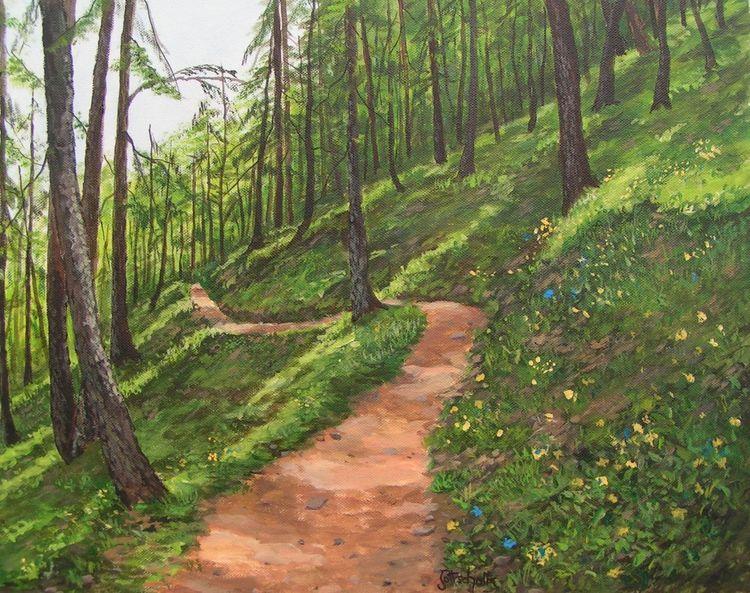 Sommer, Waldweg, Wald, Malerei