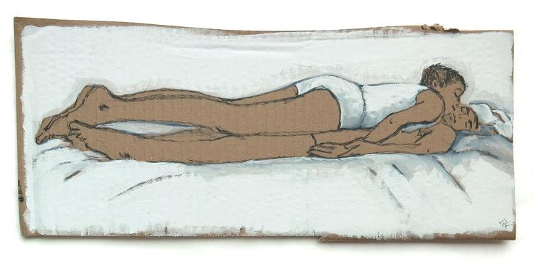 Sandwich, Frau, Mann, Bett, Zeichnungen, Decke