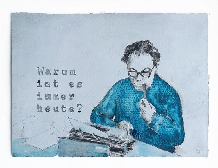 Schreibmaschine, Frisch, Schriftsteller, Zeichnungen,