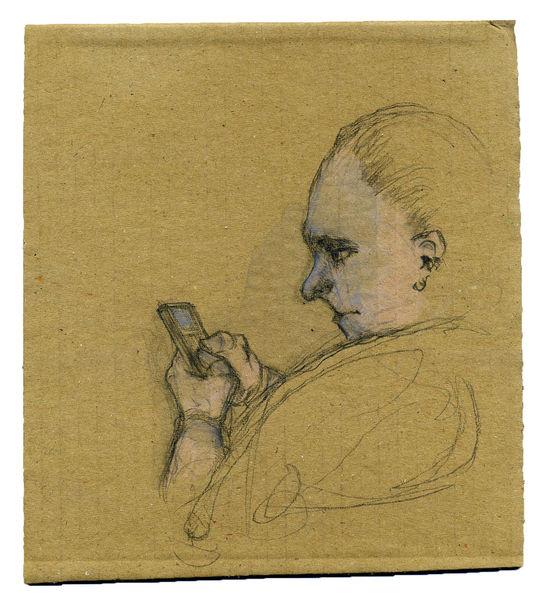 Handy, Konzentration, Mitteilung, Blau, Zeichnungen