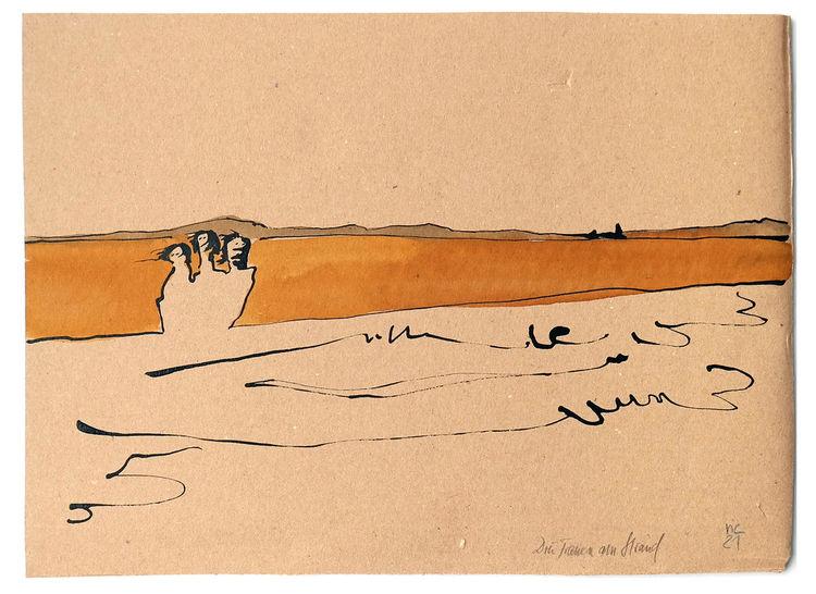 Wind, Strand, Frau, Zeichnungen