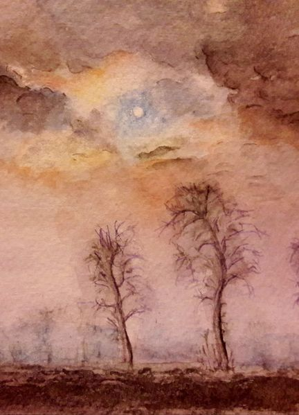 Baum, Nebel, Landschaft, Winter, Aquarell