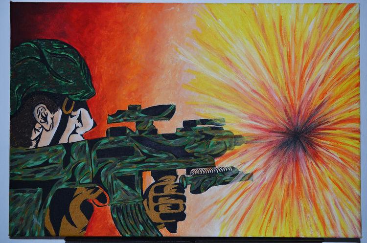 Krieg, Acrylmalerei, Soldat, Malerei