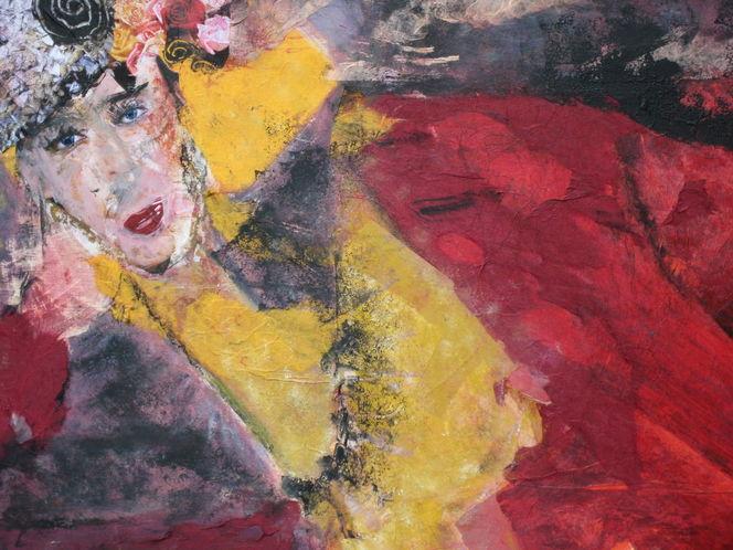 Rot, Liegend, Gelb, Frau, Malerei
