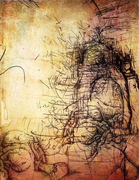 Tuschezeichnung, Zeichnung, Reise, Stein, Zeichnungen, Surreal