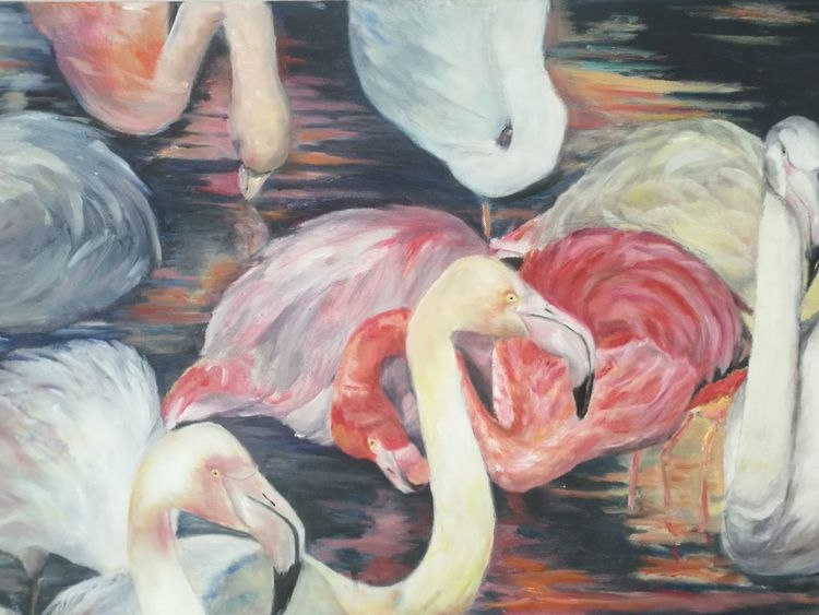 Flamingo, Ölmalerei, Feder, Malerei, Tiere,