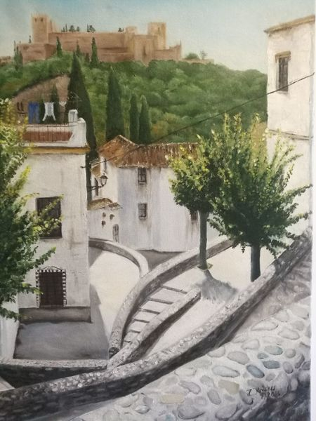 Gasse, Alhambra, Granada, Malerei