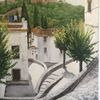 Alhambra, Granada, Gasse, Malerei