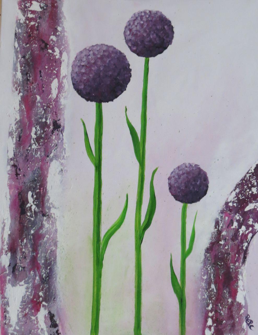 bild strukturpaste blumen lauch lila von elke p bei kunstnet. Black Bedroom Furniture Sets. Home Design Ideas