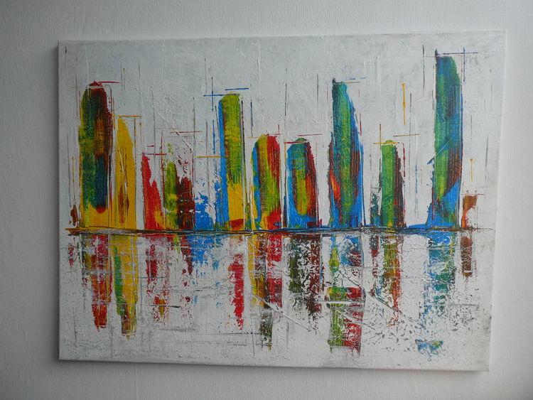 Skyline, Bunt, Modern, Usa, Spiegelung, New york