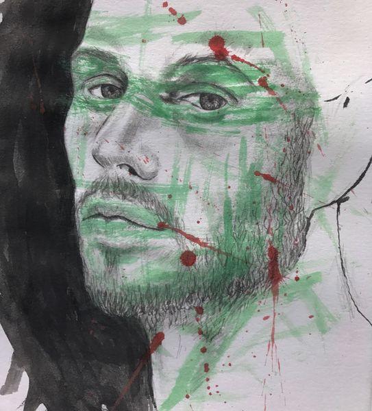 Aquarellmalerei, Grün, Zeichnung, Gesicht, Rot schwarz, Monochrom