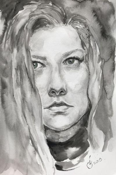 Augen, Aquarellmalerei, Frau, Studie, Portrait, Zeichnung