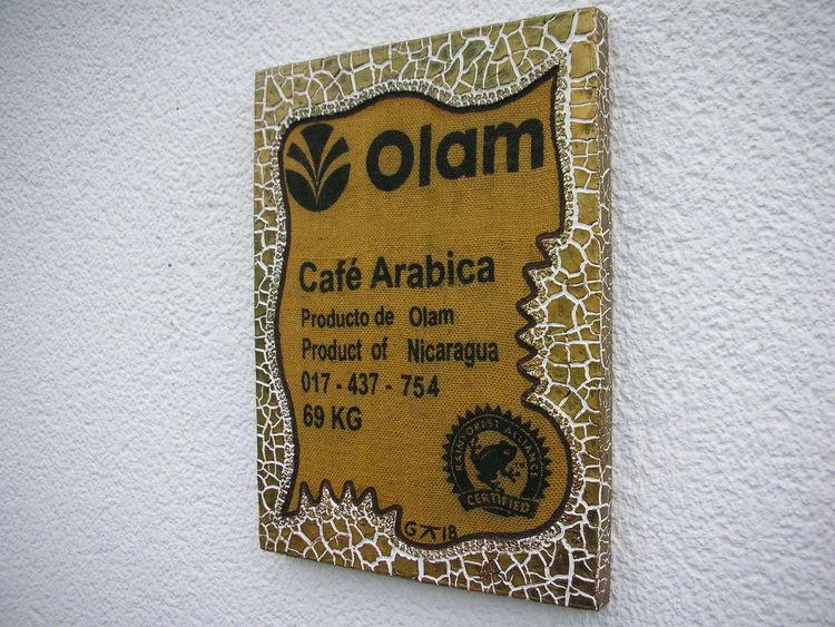 Holzbildträger, Bruchstrukturpaste, Cafe arabica, Mischtechnik, Cafe