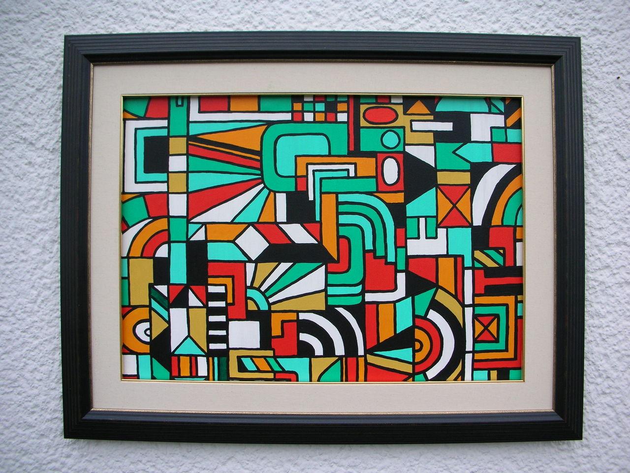 geo nr dscn2504 wei gelb gr n rot schwarz von g nter klemusch bei kunstnet. Black Bedroom Furniture Sets. Home Design Ideas