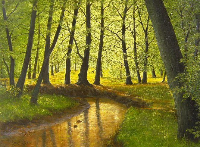 Natur, Bachverlauf, Romantik, Baum, Realismus, Gegenständlich