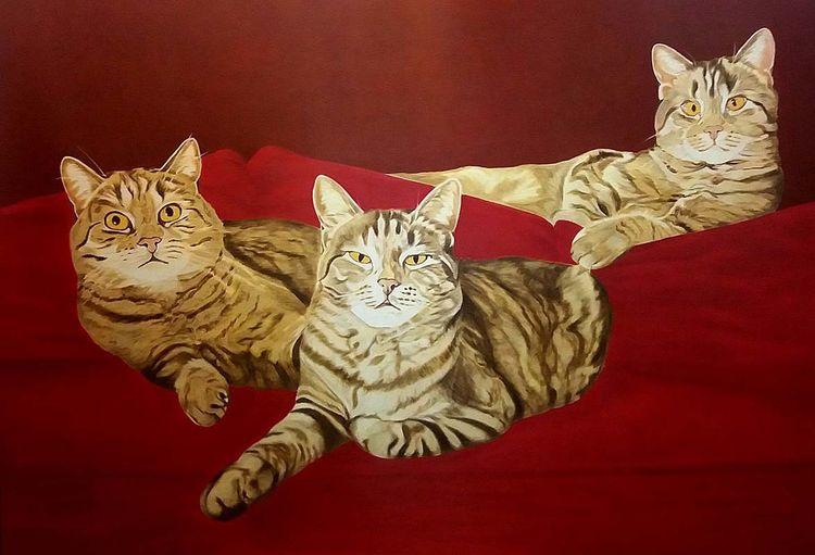 Stufe, Katze, Wip, Rot, Ölmalerei, Tiermalerei