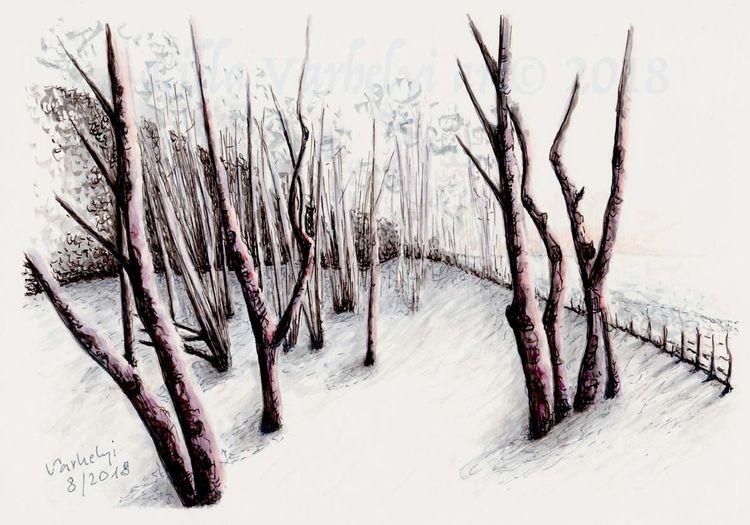 Natur, Zeichnung, Studie, Landschaft, Baum, Tuschmalerei