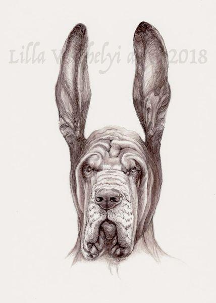 Tiere, Tuschezeichnung, Hund, Buchillustration, Bluthund, Böse