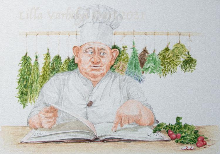 Illustration, Chefkoch, Tuschezeichnung, Märchen, Küchenkräuter, Illustrationen