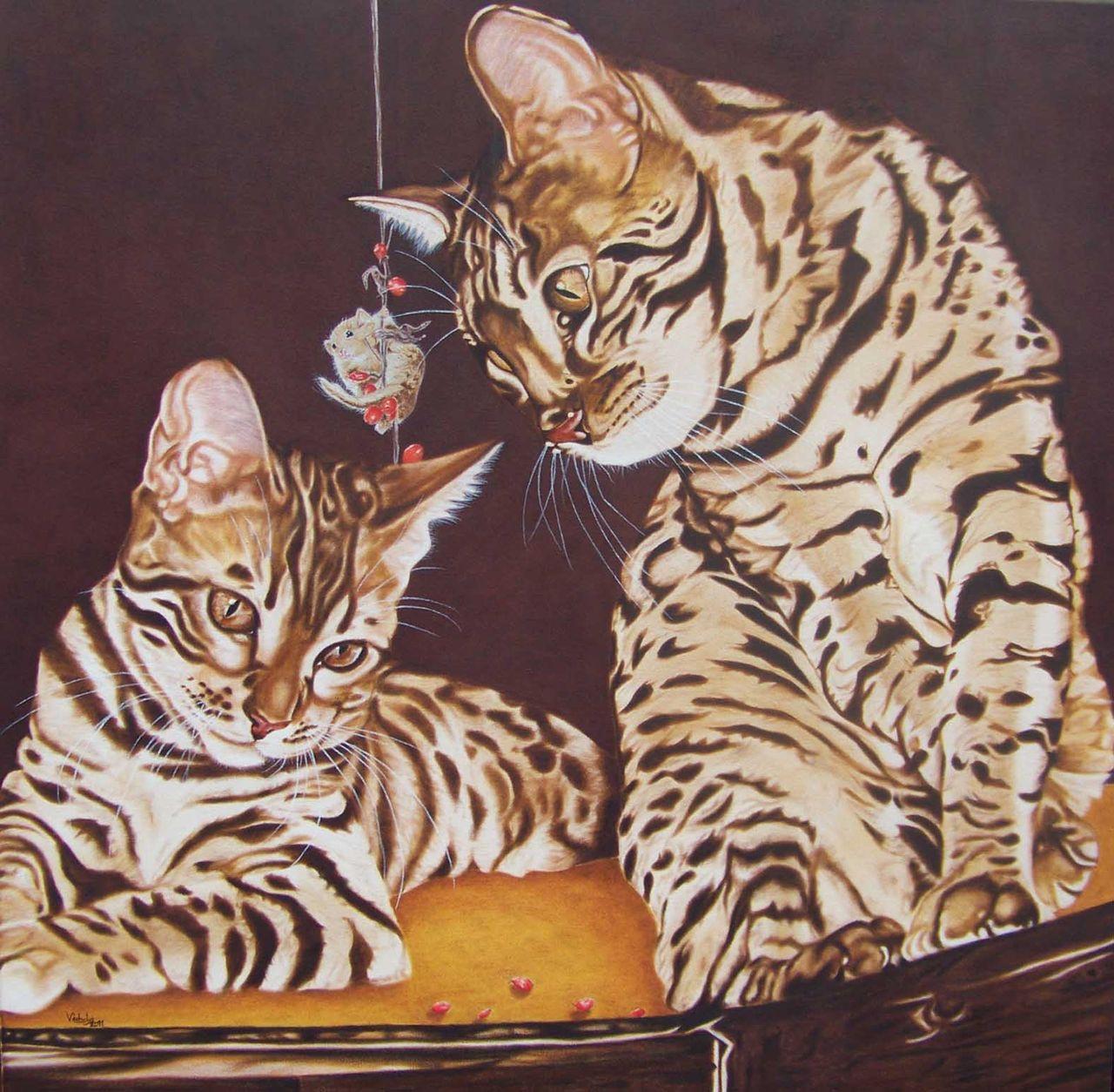 Kunstnet werke malerei tiere bengalkatzen