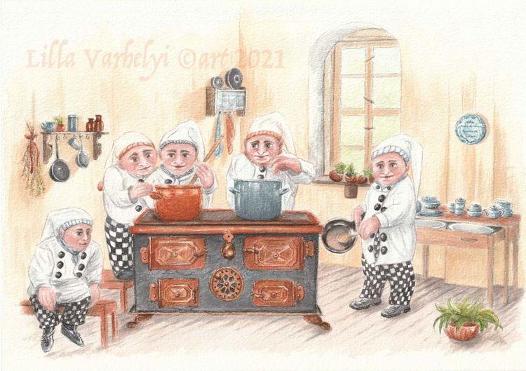 Küche, Illustration, Zwerg, Kinderbuch, Tuschezeichnung, Fantasie
