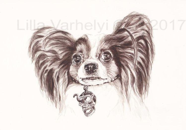 Hund, Tiere, Totenkopfanhänger, Figurativ, Wurm, Monochrom