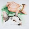 Grün, Katze, Erinnerung, Auftragsarbeit