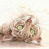 Tuschezeichnung, Grüne augen, Katze, Tierportrait