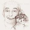 Portrait, Tusche, Katze, Zeichnung
