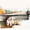 Herbst, Hund, Landschaft, Baum