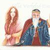 König, Märchen, Tuschmalerei, Zwillingstöchter