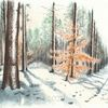 Schnee, Tuschmalerei, Landscapedrawing, Winter