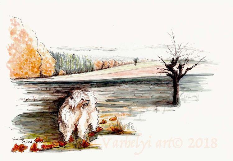 Natur, Herbst, Hund, Landschaft, Baum, Tusche