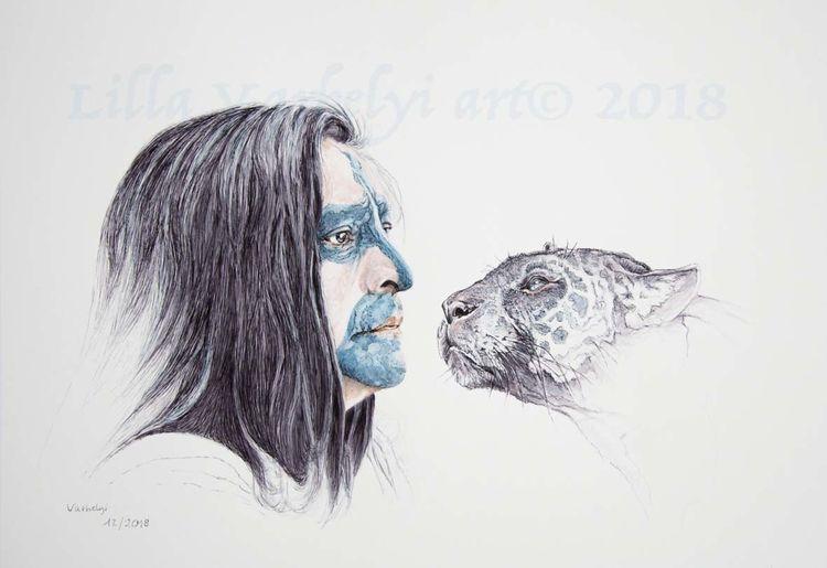 Indianer, Portrait, Gesicht, Panther, Tusche, Zeichnungen