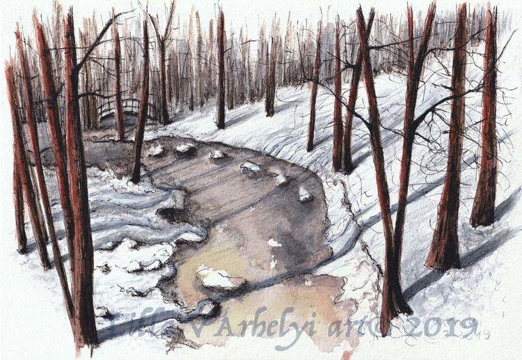 Winter, Landschaft, Baum, Tusche, Schnee, Sonne