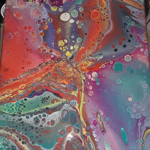 Bunt, Pouring, Acrylmalerei, Abstrakt, Malerei,