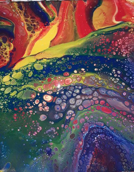 Regenbogen, Pouring, Abstrakt, Fliesstechnik, Bunt, Malerei
