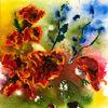 Blumen, Grün, Mohn, Blau