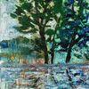 Sturm, Baum, Wasser spiegelung, Malerei