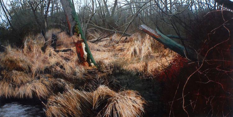 Dickicht, Malerei, Landschaft, Natur, Wald, Realismus