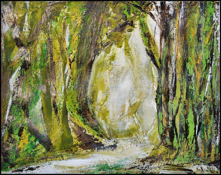 Wald, Baum, Natur, Malerei, Malerei abstrakt