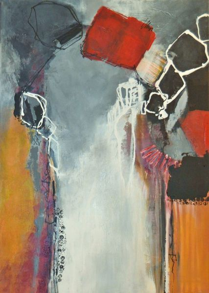 Acrylmalerei, Rot schwarz, Mischtechnik, Weiß, Spuren, Ocker