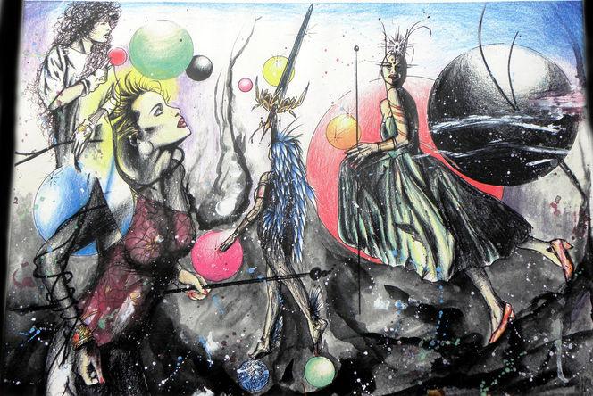 Aquarell, Surreal, Blitz