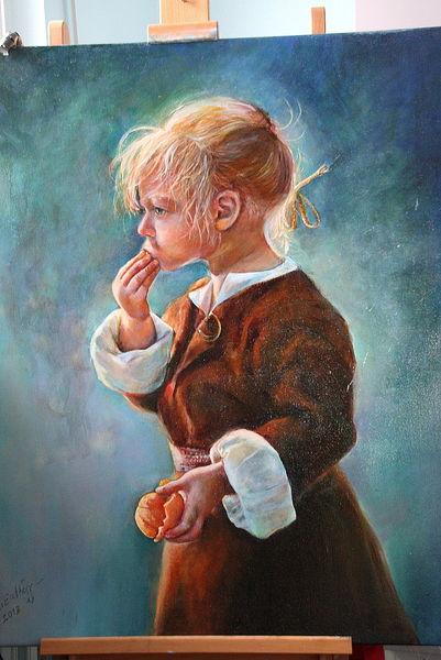 Ölmalerei, Malerei, Portrait, Mandarine, Mädchen,