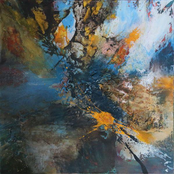 Acrylmalerei, Meer, Informel, Abstrakte landschaft, Himmel, Mischtechnik
