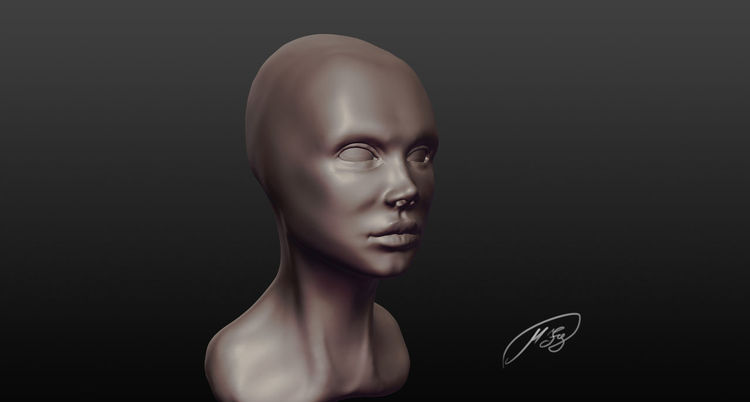 Head, 3d, Sculpting, Kopf, Digital, Frau